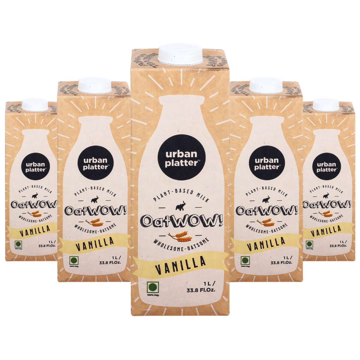 Urban Platter OatWOW Vanilla, 1 Litre / 35.2fl.oz [Pack of 12, Dairy-free Oat Milk, Delicious and Aromatic, Lactose-free] [Best Before: 18/03/2021]
