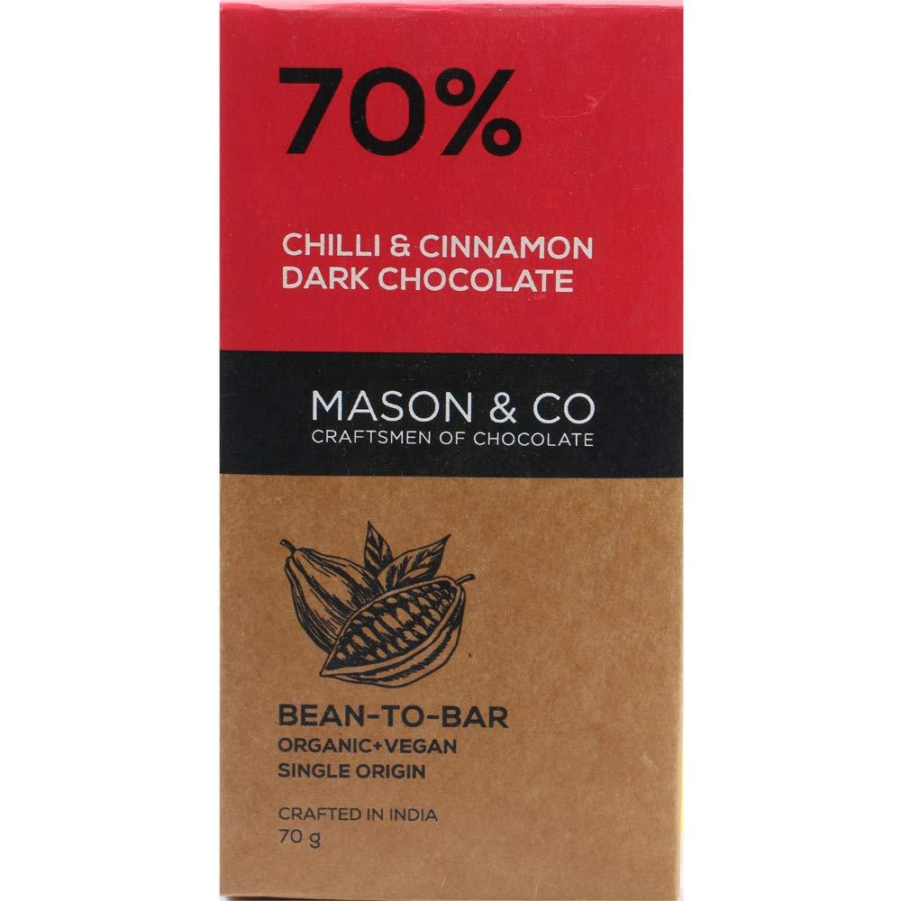 Mason & Co. 70% Chilli and Cinnamon Dark Organic Artisanal Chocolate Bar 60g