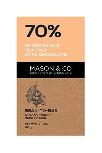 Mason & Co 70% Sourdough & Sea Sat Dark Chocolate, 60g [Pack of 2]