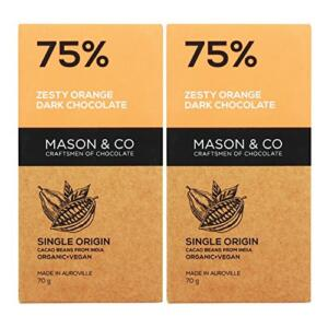 Mason & Co. 75% Zesty Orange Dark Organic Exotic Artisanal Chocolate - 60g (Pack Of 2)